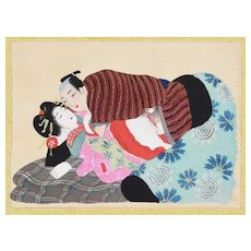 Ancient Lesson of Pleasure - Original Japanese Gouache on Silk Late 19th Century