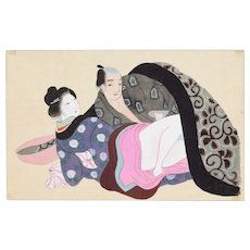 Oriental Love - Original Japanese Gouache on Silk Late 19th Century