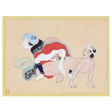 Japanese Erotic scene - Original Japanese Gouache on Silk Late 19th Century