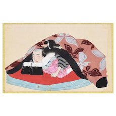 Fusion of Bodies - Original Japanese Gouache on Silk Late 19th Century