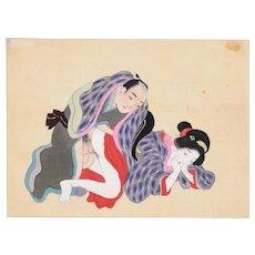 Intimacy - Original Japanese Gouache on Silk Late 19th Century