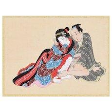 Love Game - Original Japanese Gouache on Silk Late 19th Century