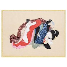 Chinese Erotic Scene - Original Gouache on Silk by an Anonymous Chinese Master, Late 19th Century