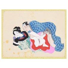 Erotic Game - Original Japanese Gouache on Silk Late 19th Century