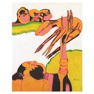 Pastorale (Pastoral) - Original Tempera on Paper by Remo Brindisi - 1950s