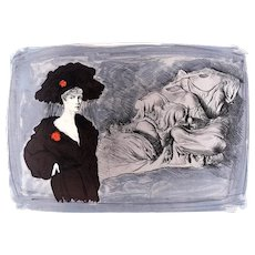 Lady - Original Lithograph by Mario Russo - 1988