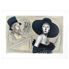 The Painter and the Model - Original Lithograph by Mario Russo - 1988