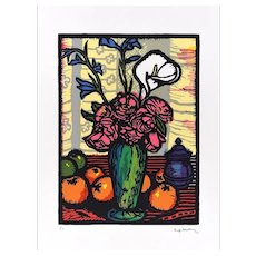 Still Life with Flowers in a Vase - Woodcut Print by L. Servolini - 1973