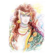 Berber Woman - Original Lithograph by Jovan Vulic - 1988