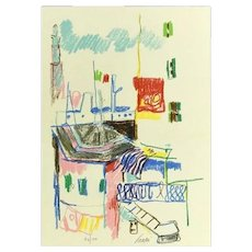 Casetta Con tricolore - Original Lithograph by Enrico Paulucci - 1973