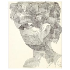 Portrait - China Ink Drawing by Corrado Cagli - 1961