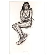 Seated Woman - Charcoal Drawing by Bernardo Siciliano - 1993