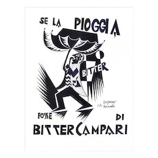 Se La Pioggia Fosse Di Bitter Campari - Original Ink Drawing After F. Depero Late 20th Century