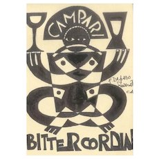 Unknown Bitter Cordial - Original Ink Drawing After F. Depero Late 20th Century