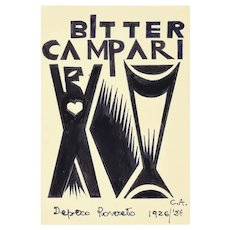 Bitter Campari - Original Ink Drawing After F. Depero Late 20th Century