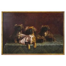 Pekingese Family of Dogs - Oil on Canvas by F.V. Rossi - 1939