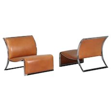 Pair of Vintage Armchairs in Metal and Leather by Vittorio Introini, 1960s