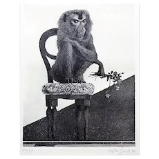 Sitting Monkey - Original Etching by Leo Guida - 1972