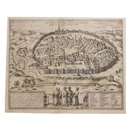 "Jerusalem, Antique Map from ""Civitates Orbis Terrarum"" by Braun Georg, Hogenberg Franz"