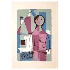Woman from Apulia with Trullo - Original Lithograph by Pippi Starace - 1960s