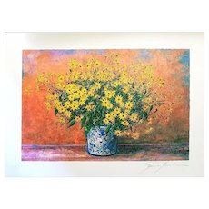 Vase of Jerusalem Artichoke Flowers, Original Screenprint by Franco Bocchi