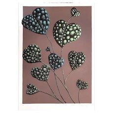"""Fioritura del Tuttocuore - """"Blossoming of the 'Tuttocuore' Flower"""",  Original Litograph by Renzo Margonari, 1976"""