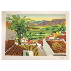 Roofs in Palermo - Original Lithograph by Renzo Meschis - 1989