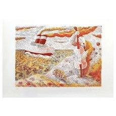 Violon and Boat - Original Lithograph by Gaetano Tranchino - 1975