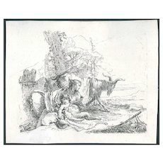 Nymph with a little satyr and two goats by Giambattista Tiepolo.