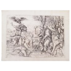 Original Etching of the Sacrifice of Iphigenia by N. Beatrizet