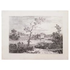 Ancient Original Etching of Venice's Canals by Canaletto