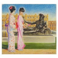Kimonos at Versailles - Original Pastel Drawing by Emile Deschler - 1984