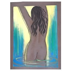 Aphrodite Anadyomene - Original Watercolor and Tempera by Emile Deschler - 1976