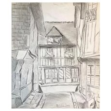 The Village - Original Pencil Drawing on Paper by M. Frouin Mid 1900