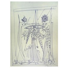 Figures - Original Penmarker on Paper by Michel Cadoret - 1955