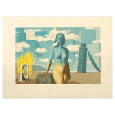 Original Surrealist Lithography by René Magritte