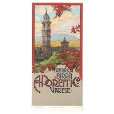 Fabbrica Birra Poretti - Original Lithography by L. Cavalieri - 1900 ca.