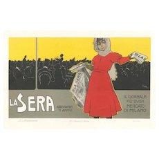 La Sera - Original Vintage Advertising Lithography by L. Metlicovitz - 1900 ca.