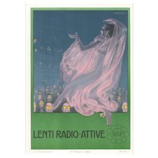 "Lenti Radio Attive - ""Radioactive Lenses"", Original Advertising Lithograph by L. Caldanzano - 1912"