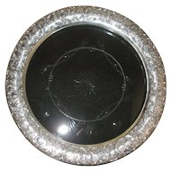 """Bailey Banks Biddle Repousse Cherub/Angel/Cupid Sterling Silver Glass Crystal Charger 13-7/16"""""""
