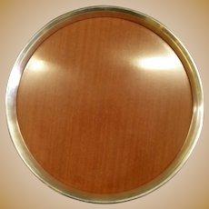"GORHAM 16"" Sterling Silver Serving Drink Tray Platter w/ Laminate Wood"