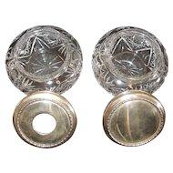 "BIRKS Sterling Silver  4-1/2"" Powder Vanity Jar Pair Etched Cut Glass Crystal Hair Receiver Rouge Pot"