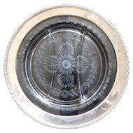 """WATSON Sterling Silver 12"""" Etched/Cut Glass Three Section Serving Dish Platter Tray"""