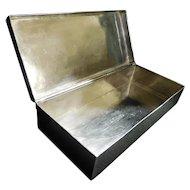 "MACIEL Sterling Silver Cigarette Cigar Case Box 7-3/8"" x 3-3/4"" x 1-3/4"", Excellent, 544 Grams Silver"