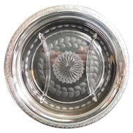 """HUNT Hallmark Sterling Silver 9-3/16"""" Etched Cut Glass Crystal Divided Platter Serving Dish Tray"""