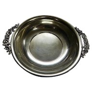 """POOLE Sterling Silver Bowl Tray Trinket Dish, Ornate Applied Handles, 65 Grams, 5-5/8"""" x 1"""""""