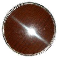 "FISHER Sterling Silver Pierced Gallery Tray 10+"" x 1-3/8""  Model 2218 Laminate/Wood Ball Feet"