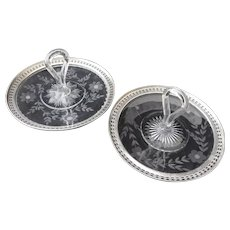 """WILCOX & WAGONER Sterling Silver Glass Loop Handle Serving Plate Dish Pair, 7-3/8"""""""