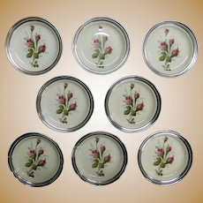 "ROSENTHAL SELB Sterling Silver Rim Moss Rose China Porcelain Coaster Set Eight (8), 4-3/16"" Diameter"