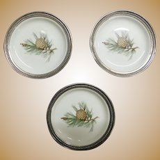 SELB ROSENTHAL Pine Needles Sterling Silver Porcelain China Coaster (3)